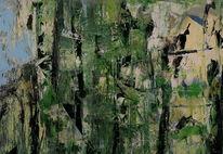 Abstrakt, Grün, Schwarz, Malerei