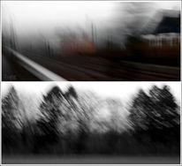 Fortbewegung, Bahngleise, Zeitaufnahme, Baum