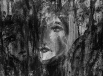 Schwarzweiß, Ausdruck, Malerei