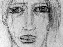 Augen, Portrait, Winter, Schneegestöber
