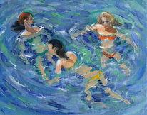 Badende mädchen, Becken, Schwimmen, Bewegung