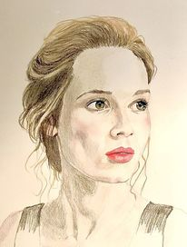 Dame, Portrait, Malerei,