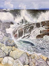 Meer, Felsen, Brandung, Malerei