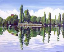 Spiegelung, Reichenau, See, Wasser