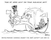 Karikatur, Cameron, Merkel, Europa