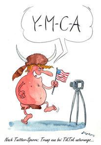 Usa, Karikatur, Tiktok, Cartoon