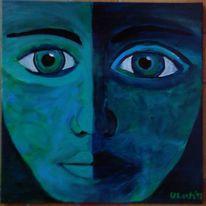 Gesicht, Blau, Malerei, Abstrakt