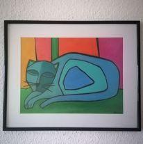 Bunt, Kater, Blau, Malerei