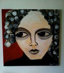 Nachdenklich, Rot schwarz, Malerei