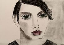 Schwarz, Mann, Kohlezeichnung, Zeichnungen