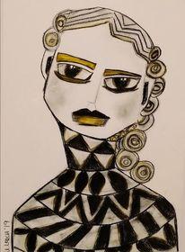 Kohlezeichnung, Gelb, Schwarz, Zeichnungen