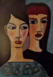 Schwarz, Paar, Menschen, Malerei