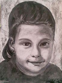 Portrait, Kohlezeichnung, Schwarz weiß, Zeichnungen