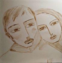Vorzwichnung, Aquarellmalerei, Paar, Zeichnungen