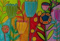 Bunt, Rot, Blumen, Malerei