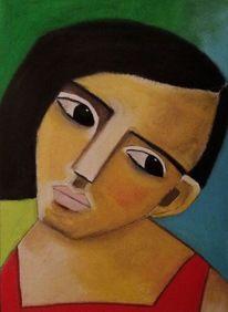 Traum, Schwarz, Gesicht, Malerei