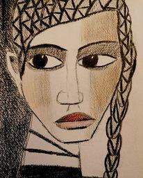 Kohlezeichnung, Buntstiftzeichnung, Frau, Zeichnungen