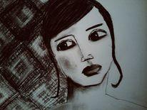 Frau, Kohlezeichnung, Zweifel, Zeichnungen