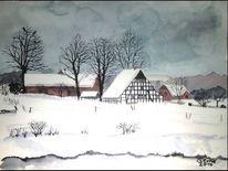 Winter fachwerk dorf, Aquarell