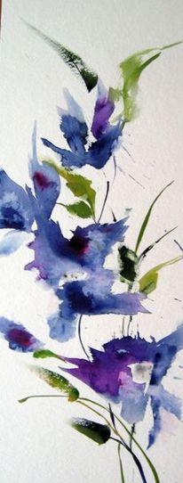 Nass, Aquarellmalerei, Blumen, Aquarell