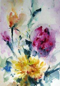 Blumen, Nass, Aquarellmalerei, Pflanzen