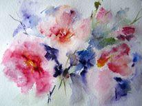 Blumen, Aquarellmalerei, Nass, Aquarell