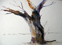 Nass, Aquarellmalerei, Baum, Aquarell