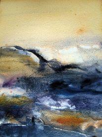 Landschaft, Abstrakt, Nass, Aquarellmalerei