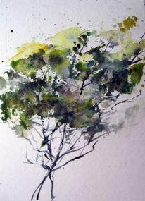 Baum, Nass, Skizze, Aquarell