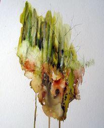 Nass, Baum, Aquarellmalerei, Landschaft