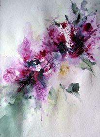 Aquarellmalerei, Abstrakt, Pflanzen, Blumen