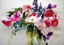 Aquarell, Wilde, Blumen