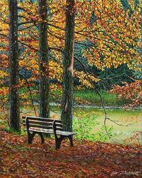 Ölmalerei, Wald, Blätter, Landschaft