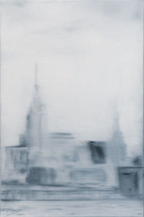 Gebäude, Ölmalerei, Manhattan, Malerei