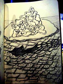 Affe, Insel, Hai, Zeichnungen