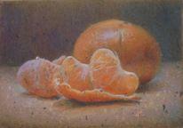 Mandarine, Buntstiftzeichnung, Fleck, Grau