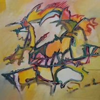 Ölmalerei, Abstraktes impressionismus, Lounge, Birotic art