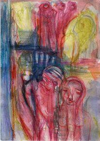 Surreal, Abstrakt, Figural, Rot