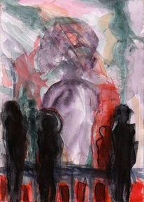 Menschen, Nacht, Rot, Malerei