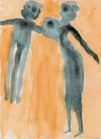 Figural, Malerei, Surreal, Aquarell