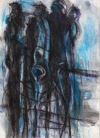 Figural, Surreal, Nacht, Blau