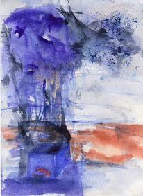 Surreal, Abstrakt, Blau, Malerei