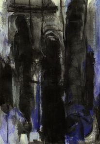 Nacht, Abstrakt, Figural, Malerei