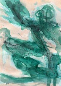 Grün, Surreal, Abstrakt, Figural