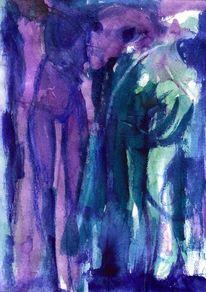 Blau, Abstrakt, Figural, Malerei