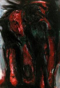 Nacht, Rot, Surreal, Malerei