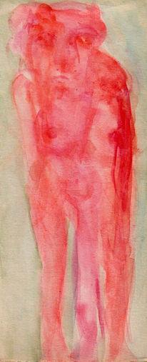 Akt, Rot, Traum, Malerei