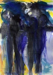 Surreal, Blau, Figural, Nacht