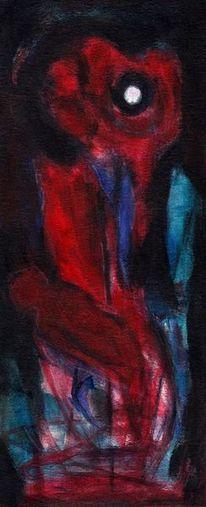 Mond, Rot, Surreal, Malerei