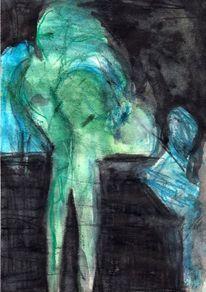 Surreal, Abstrakt, Figural, Grün